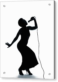 191x270 Silhouette Of Female Singer Singing On Microphone Photograph By Pm