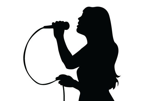 500x350 Free Vector Download Of Singing Silhouette Vector, A Beautiful