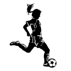 236x236 Girl Soccer Player Kicking Silhouette Sports