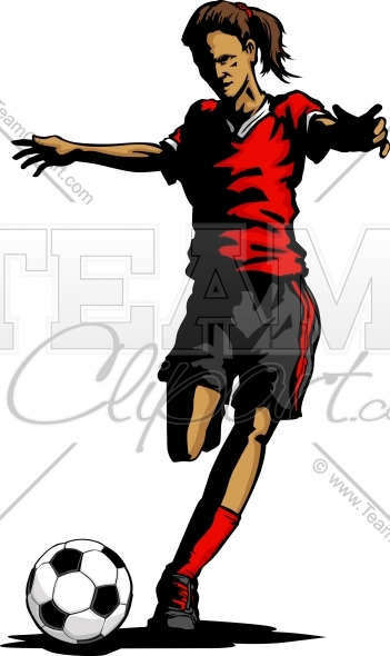 351x590 Girl Soccer Silhouette Clipart Image.