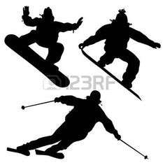 236x236 Silhouette Set Of Different Winter Sports Skiing Part 1 Stock