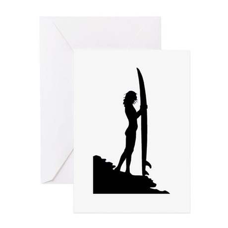 460x460 Surfer Girl Greeting Cards