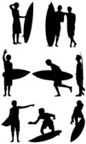 125x209 Creative Silhouette Of Surfer In Polygon Style With Rainbow Back