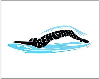 340x270 Swimmer Silhouette Etsy
