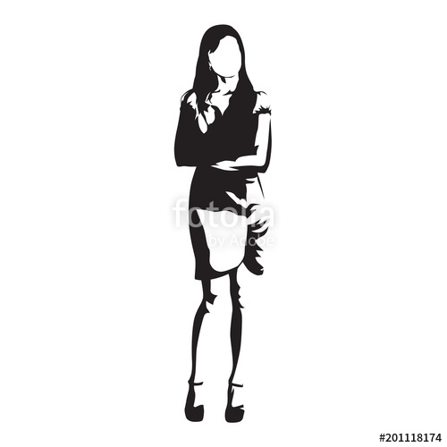 500x500 Business Woman Standing With Folded Arms, Abstract Vector