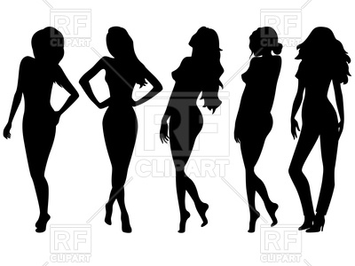 400x300 Set Of Five Female Black Silhouettes Royalty Free Vector Clip Art