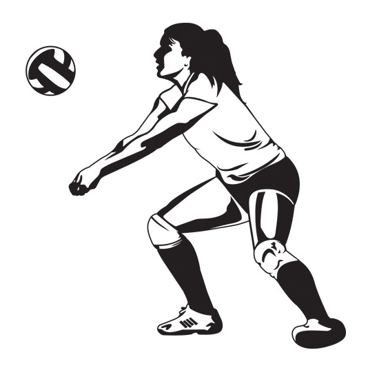 550x550 Volleyball Player Silhouette Digging