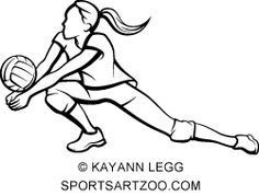 236x179 Woman Beach Volleyball Player With Flowing Net By Sportsartzoo