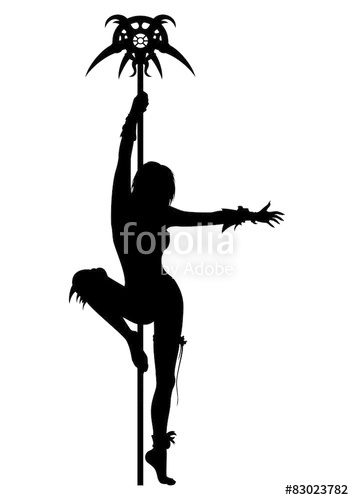 354x500 Priestess Woman Striptease Silhouette. Stock Photo And Royalty