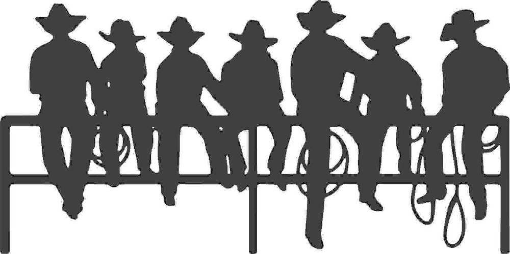 1000x499 Silhouette Of Cowboys Sitting On A Fence Vinyl Wall Decal [Western