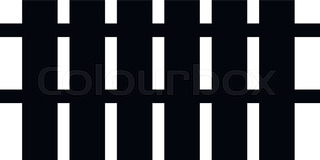 320x160 Black And White Silhouette And Isolated Picket Fence Stock