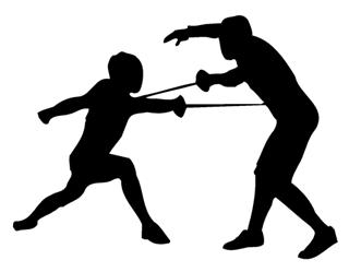 320x249 Fencing Silhouette Decal Sticker