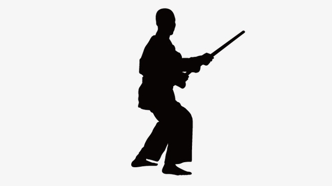 650x366 Fencing Silhouette Figures, Chinese Kong Fu, Vector Silhouette