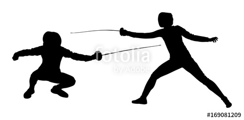 500x246 Fencing Player Portrait Vector Silhouette Illustration Isolated