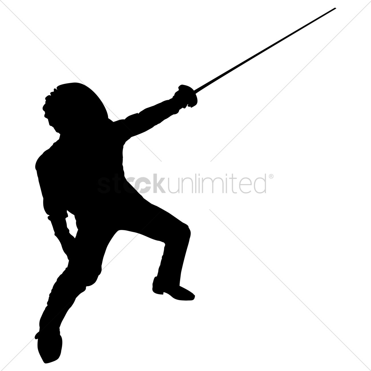 1300x1300 Silhouette Of A Man With Fencing Rapier Vector Image