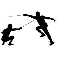 200x200 Silhouette Of A Man With Fencing Rapiers Vector Image