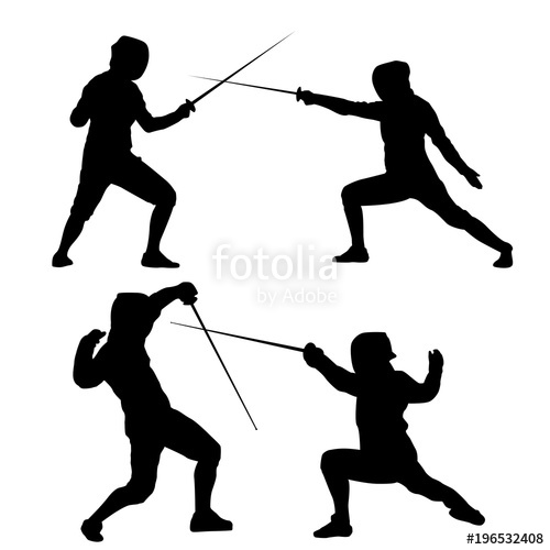 500x500 Black Silhouette Of Fencing On A White Background Stock Image