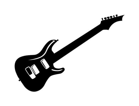570x438 Electric Guitar Silhouette Large Wall Decal Large Wall Decals
