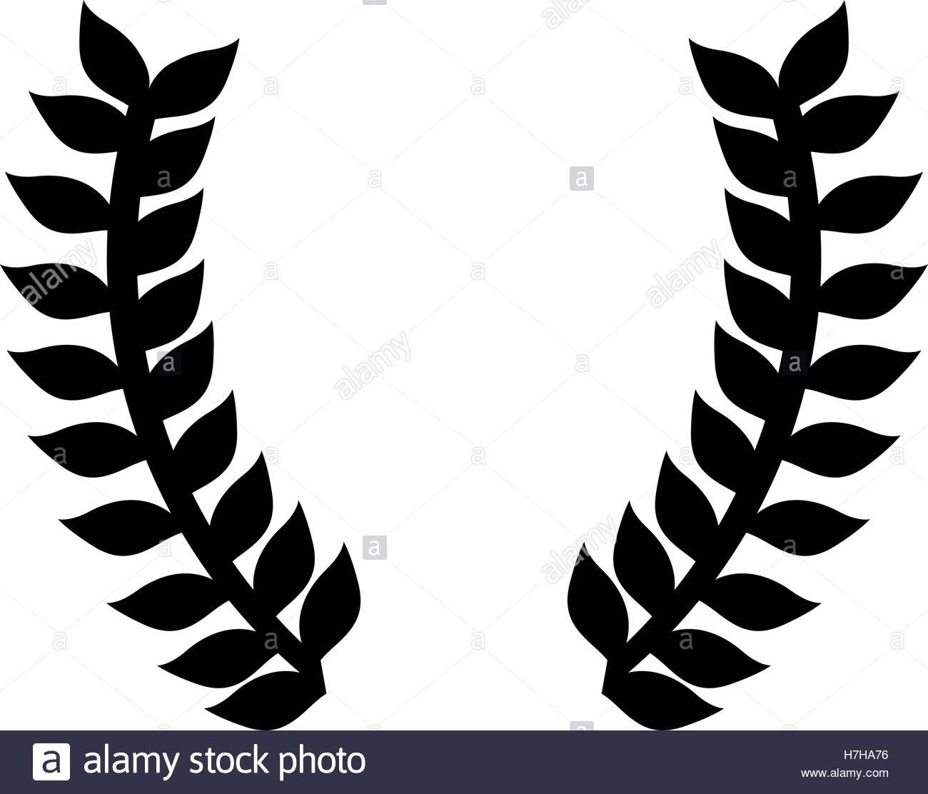 1300x1112 Silhouette Of Laurel Leaves Wreath Icon Over White Background