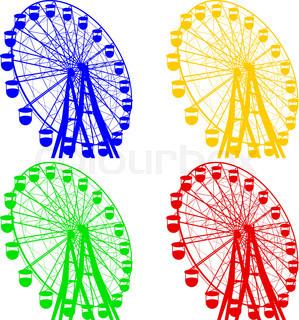 299x320 Silhouette Park Atraktsion Ferris Wheel. Vector Illustration