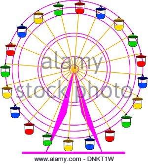 300x333 Silhouette Atraktsion Colorful Ferris Wheel. Vector Illustration