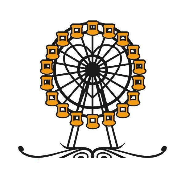 600x600 Ferris Wheel Cuttable Design Cut File. Vector, Clipart, Digital