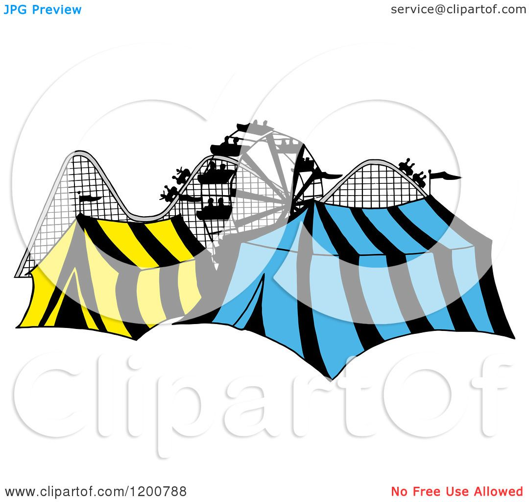 1080x1024 Cartoon Of Ferris Wheel Roller Coasternd Circus Tents In