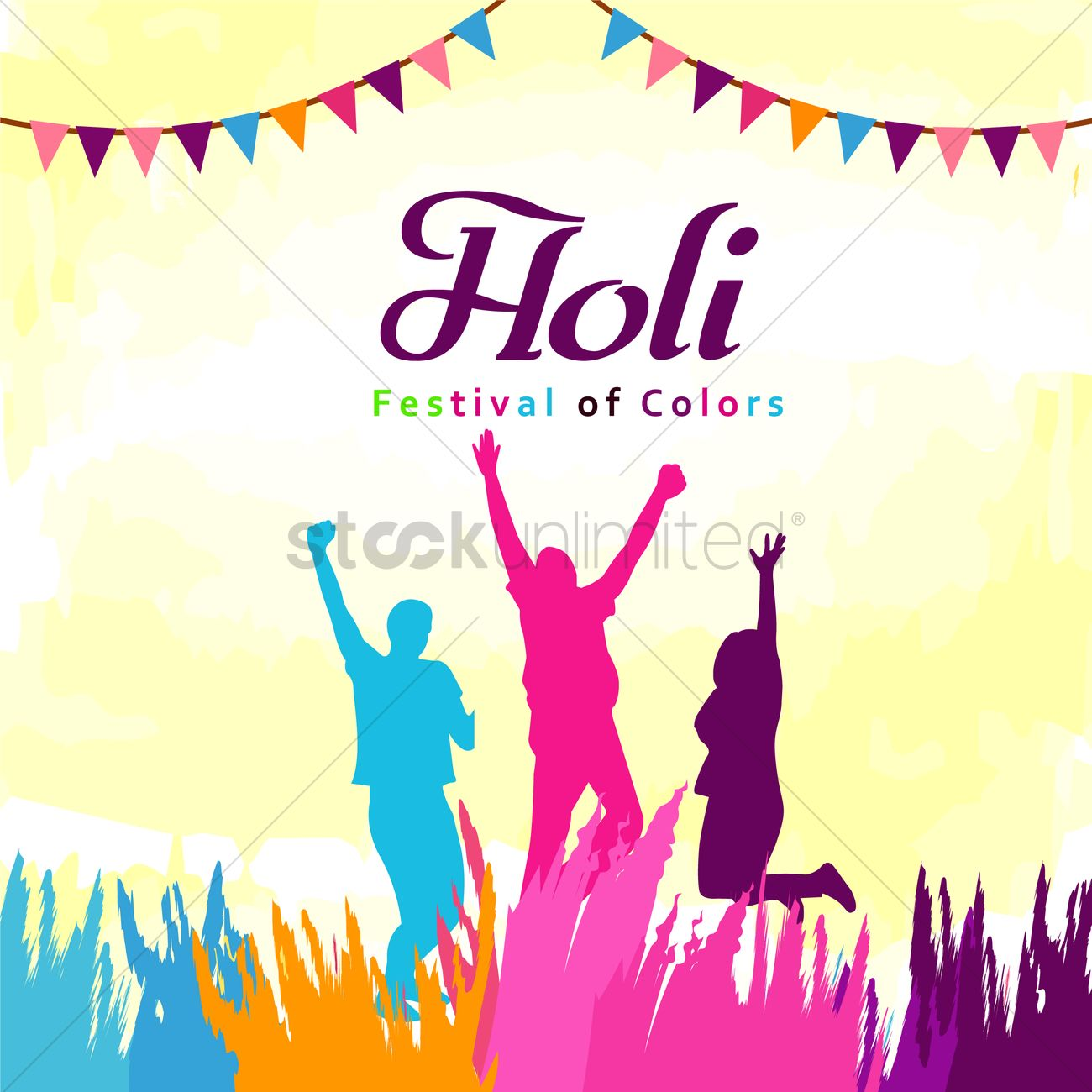 1300x1300 Holi Festival Of Colors Vector Image