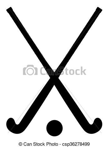 349x470 Field Hockey Equipment Black Outline Silhouette Vector Eps