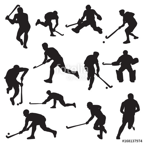 500x500 Hockey Field On Grass Athlete Silhouette Set Stock Image