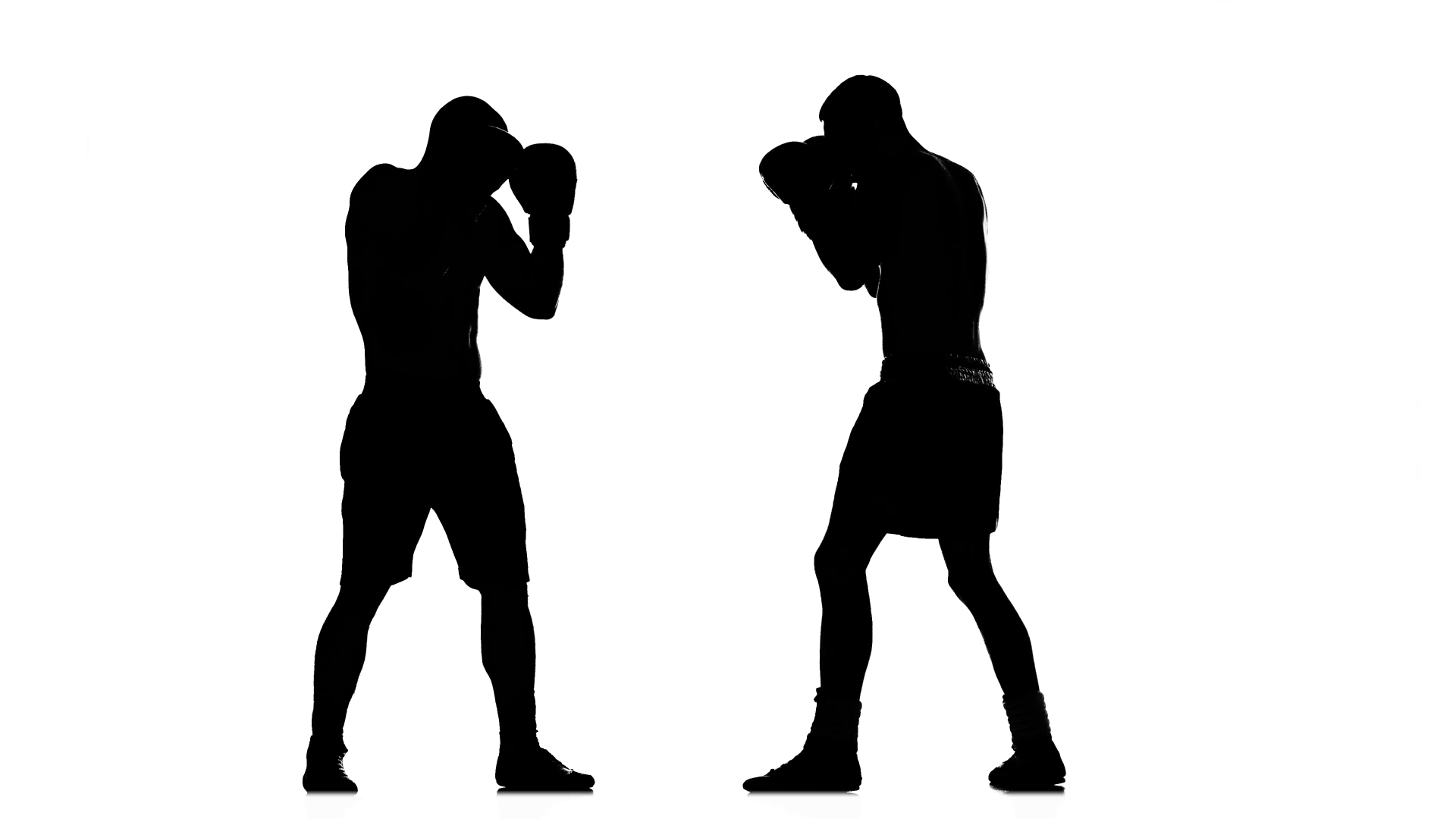 1920x1080 Intensive And Intense Fight Between Two Boxers. Black Silhouette