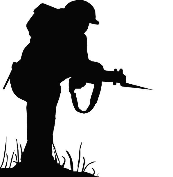 596x609 Silhouette, Outline, Fighter, War, Conflict, Soldier, Weapon