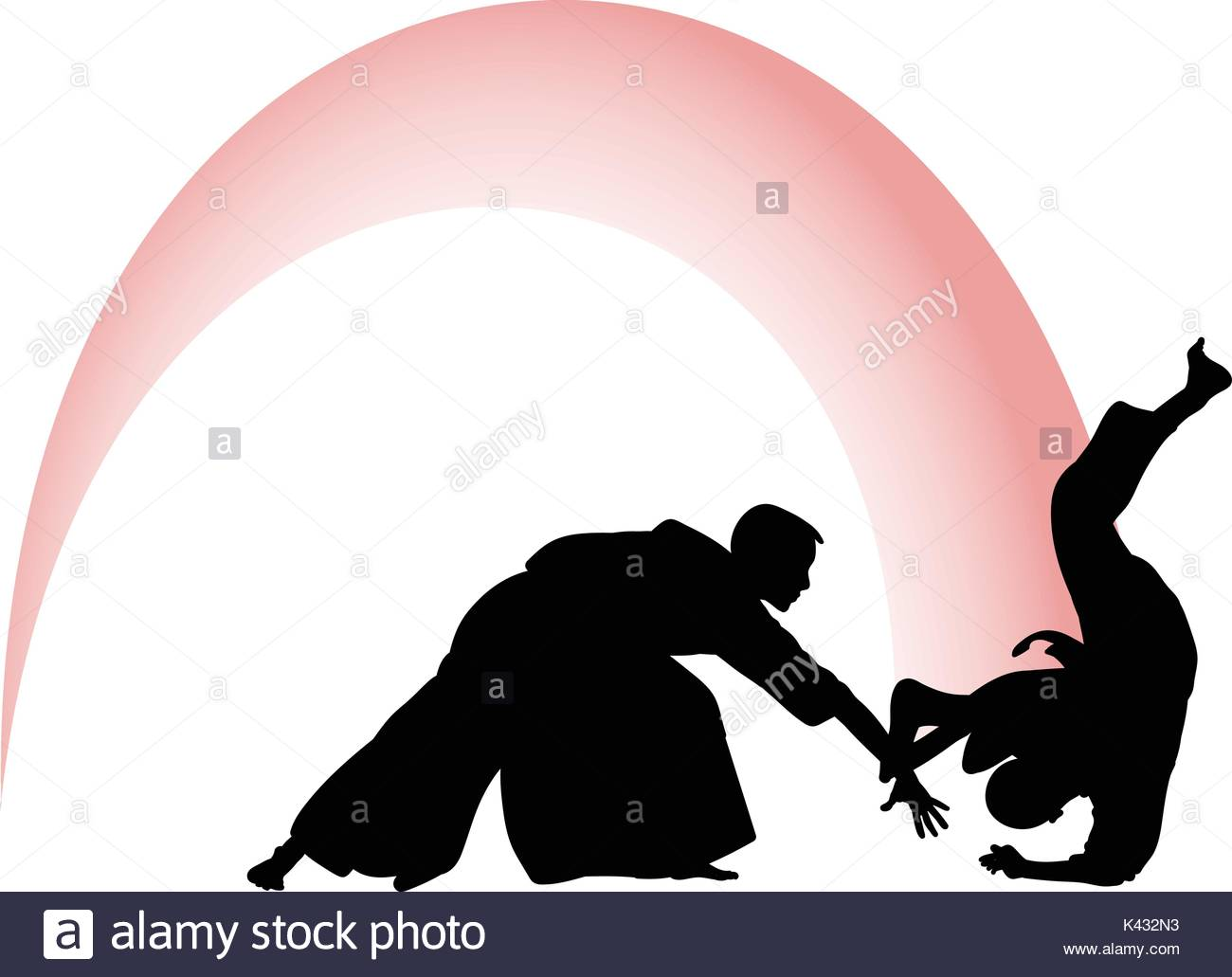 1300x1031 Silhouette Of Aikido Masters, Leading The Fight In Training
