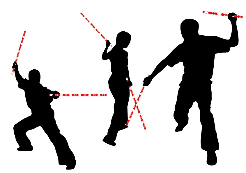 845x596 Silhouette Stick Fighting