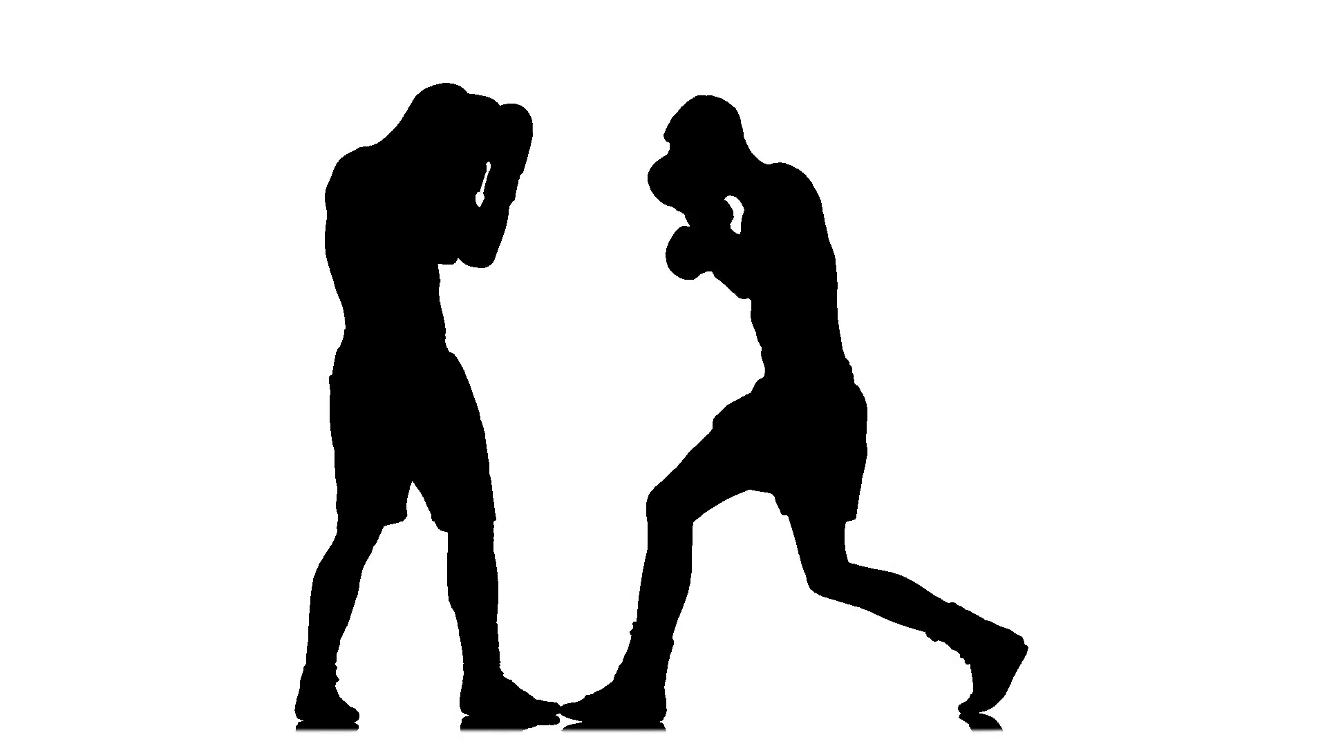 1920x1080 Boxing. Punched Gloves. Two Man Silhouette Athletes Fight. Slow