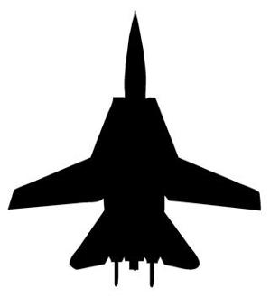 299x330 Fighter Jet Silhouette 5 Decal Sticker