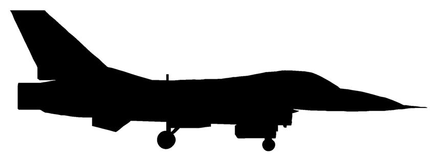 854x311 Fighter Jet Silhouette Sideview 2 Decal Sticker