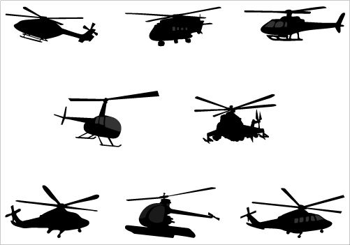 501x351 Helicopter Silhouette Vector