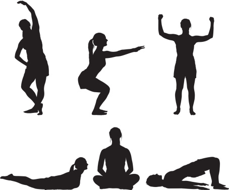 454x377 Silhouette Illustration Of A Woman Figure Doing Physical Fitness