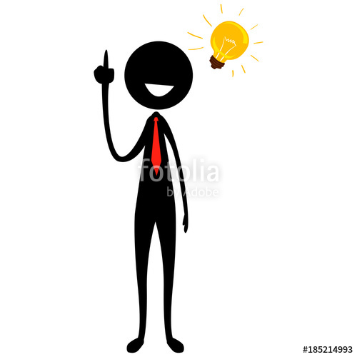 500x500 Vector Illustration Of Stick Figure Silhouette Businessman