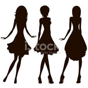 300x300 Woman Body Figure Silhouettes Vector Art Premium Clipart