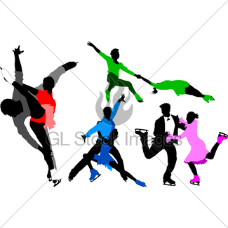 325x325 Mans Figure Skating Silhouette Set Gl Stock Images