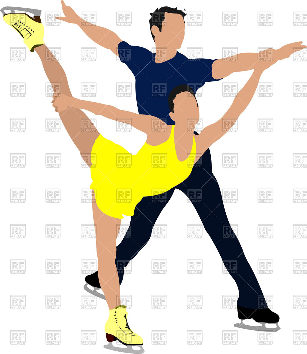 1042x1200 Silhouettes Of Couple Figure Skating (Man And Woman) Royalty Free