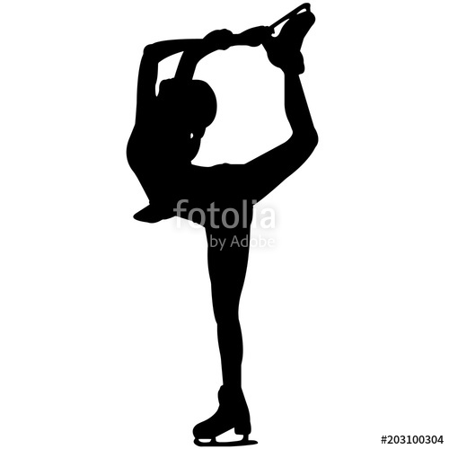 500x500 Woman Ice Skating Silhouette, Female Ice Skater Clipart, Girl