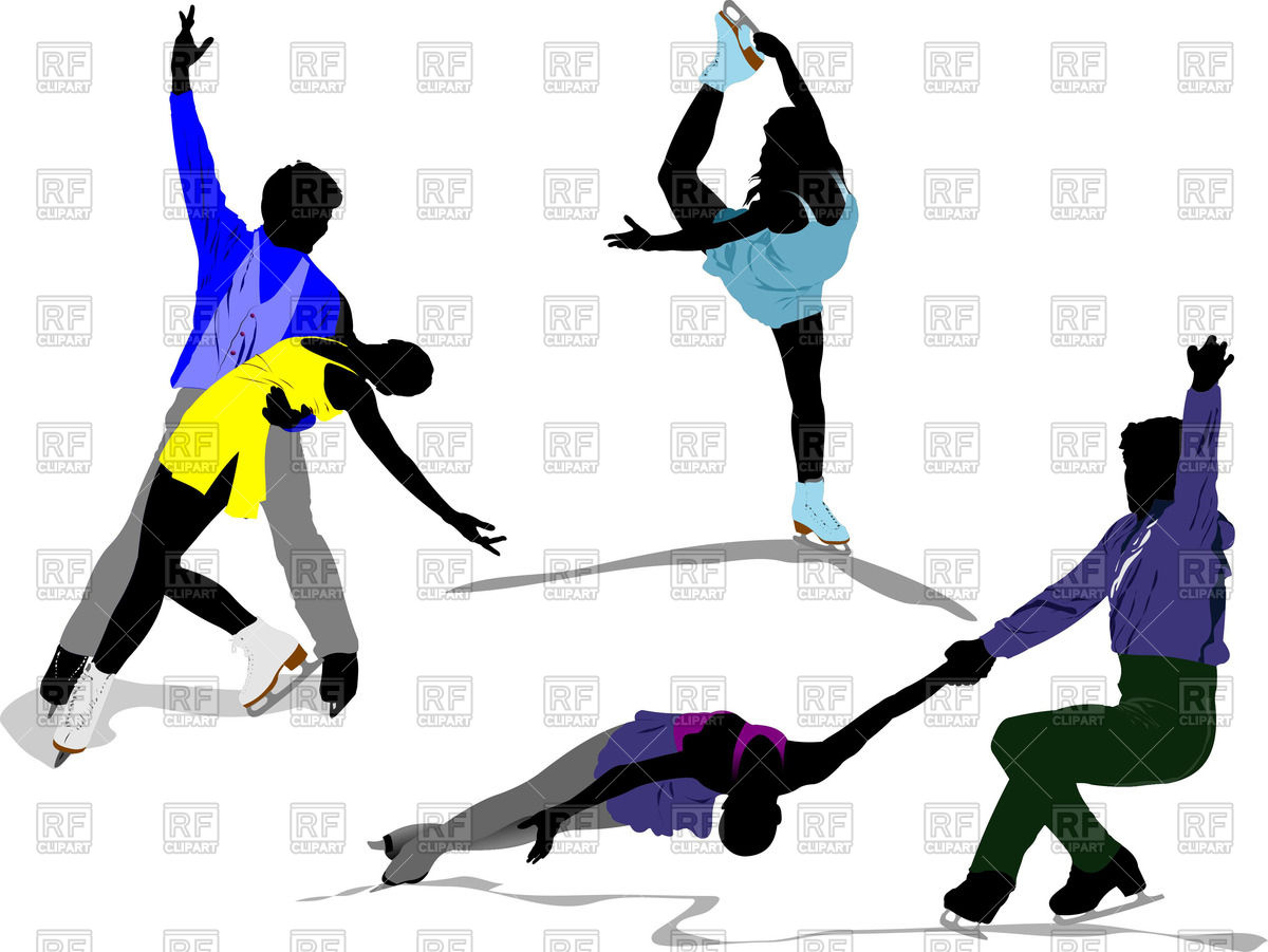 1200x901 Colored Silhouettes Of Figure Skaters Royalty Free Vector Clip Art