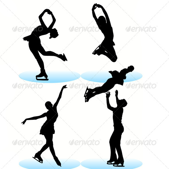 590x590 Figure Skating Silhouettes Set By Kaludov Graphicriver