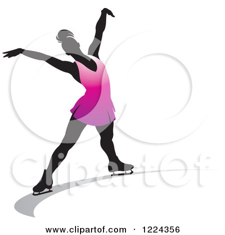 450x470 Clipart Of A Silhouetted Female Figure Skater Over A Red Maple