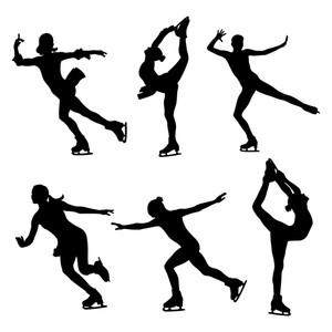 300x300 Set Figure Skating Women Skaters Black Silhouette Royalty Free