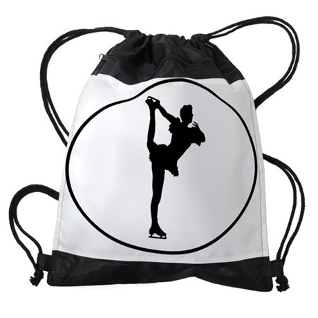 460x460 Figure Skater Silhouette Oval Drawstring Bag By Admin Cp111129838