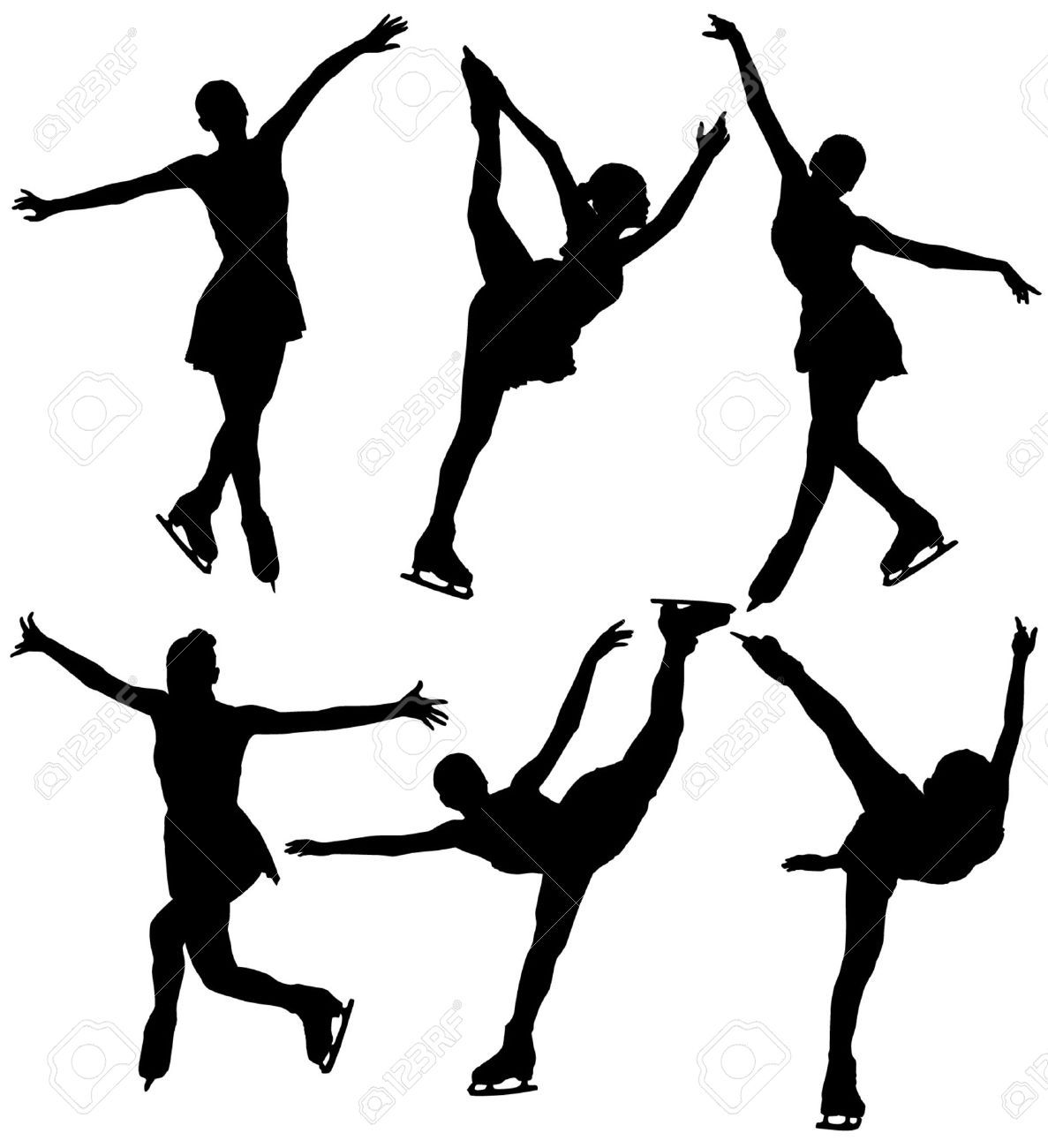 1187x1300 Ice Skating Silhouette On White Background Royalty Free Cliparts